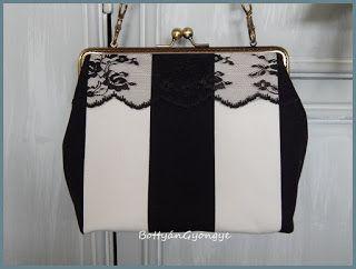 Fekete - fehér kézitáska fekete csipkével / Black and white handbag with black lace