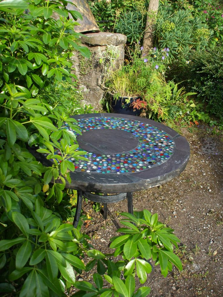 Mosaic table, but use wood and leave raw