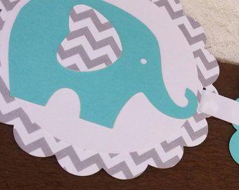 Roze Chevron olifant Baby douche Banner door CharlotteGraceBaby