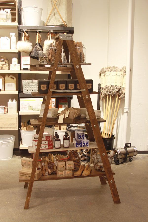 vintage ladder and boards for a  shelf.  west elm Market   Personal Care