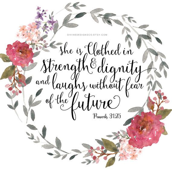 Inspirational Wall Print Proverbs 31:25 She by DivineDesignsCo  LDS Young Women Gifts - Activities