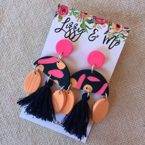 """""""MIMI"""" Tassel Earrings - Navy, Peach and Candy Pink"""