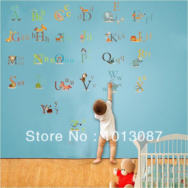 Animal Alphabet Stickers Kids Room Decor Nursery Wall Stickers adesivo de parede Bedroom Decor Buy 1 Get 1 Switch Sticker Free-in Wall Stick...