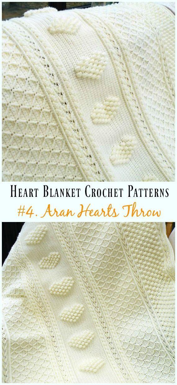 Gehäkelte Aran-Herzen Throw Blanket Free Pattern – #Heart; #Decke ...