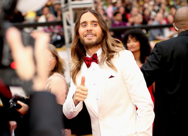 "Jared Leto, a supporting actor nominee for his role in ""Dallas Buyers Club,"" in Burberry. #Oscars #AcademyAwards"