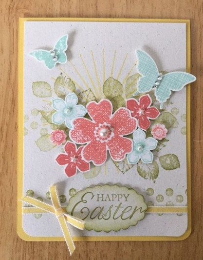 Stampin Up handmade Easter Day card - Happpy Easter with sun, flowers and butterflies