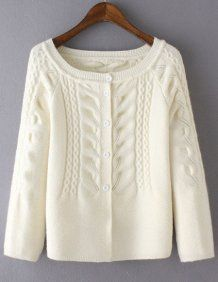 Casual White Cabel Knit Button Front Sweater
