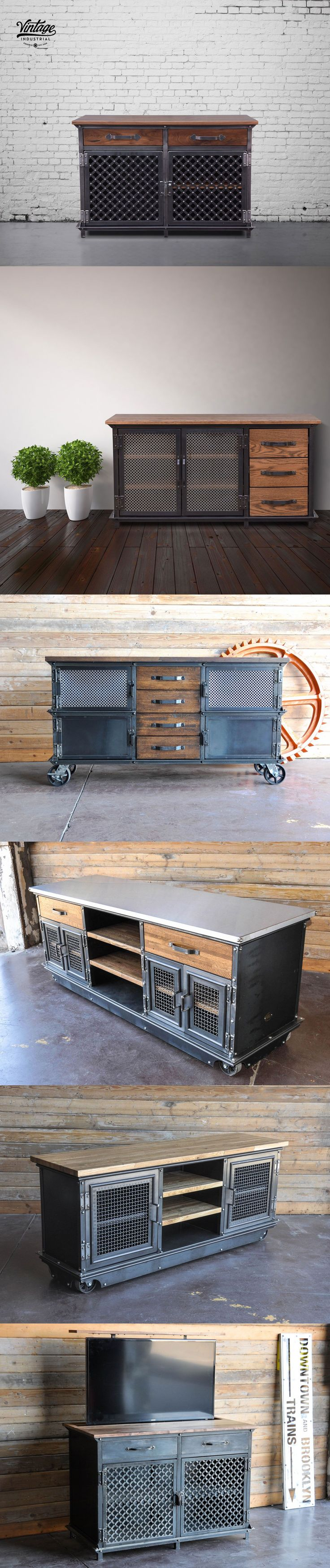 Console tables built by Vintage Industrial Furniture in Phoenix. We make them from scratch and can customize them in many ways.