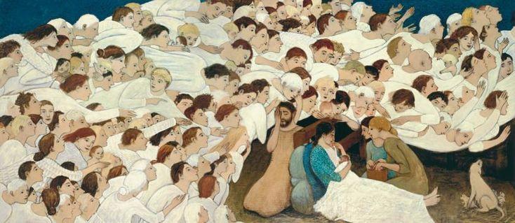 Contemporary nativity scene painting nativity by brian kershisnik 18