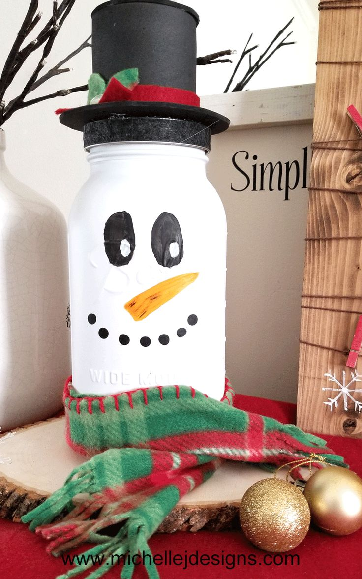 DIY Holiday Snowman Mason Jar Craft 454