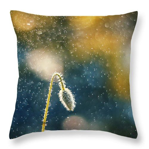 Throw Pillow featuring the photograph Bud In Sparky Night by Oksana Ariskina. Bud of a poppy flower in a sparkling bokeh navy blue abstract night background. Available as mugs, posters, greeting cards, phone cases, throw pillows, framed fine art prints, metal, acrylic or canvas prints, shower curtains, duvet covers with my fine art photography online: www.oksana-ariskina.pixels.com #OksanaAriskina