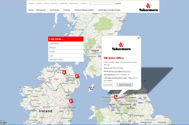 Tobermore's Google Maps' based location finder.