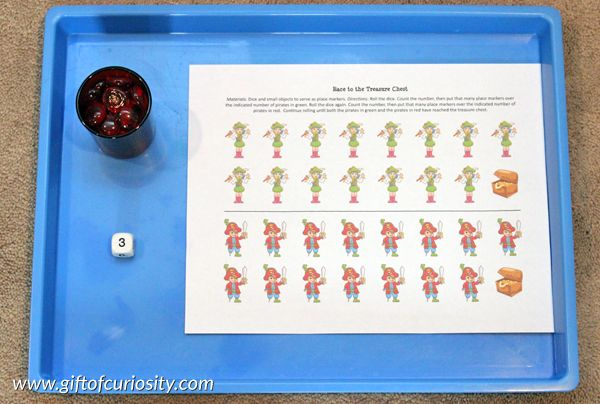 Pirate Montessori activities: Pirate race game || Gift of Curiosity