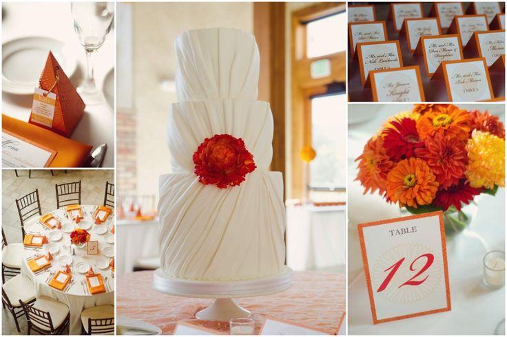 Simple orange-red wedding