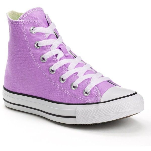 Adult Converse All Star Chuck Taylor High-Top Sneakers ($60) ❤ liked on Polyvore featuring shoes, sneakers, brt purple, purple high top sneakers, purple sneakers, high-top sneakers, purple shoes and unisex shoes