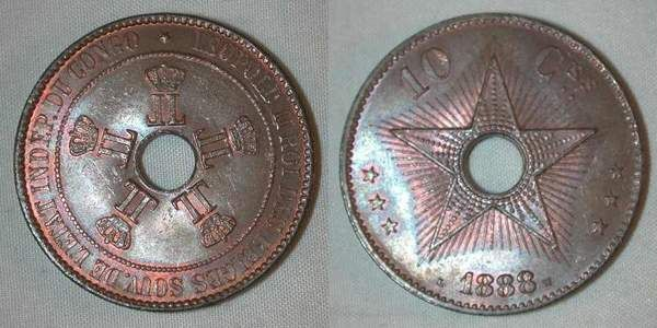 Beautiful Large Size Copper Coin Hole in Middle 10 Centimes 1888 Congo Free State About Uncirculated or Better