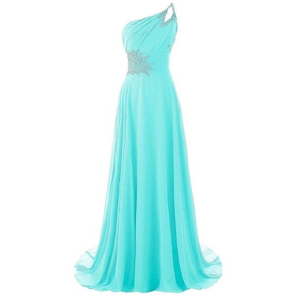 Hblld Strapless Chiffon Evening Party Long Prom Dress Ball Gowns ($79) ❤ liked on Polyvore featuring dresses, gowns, holiday party dresses, prom dresses, evening dresses, blue evening gown and cocktail dresses
