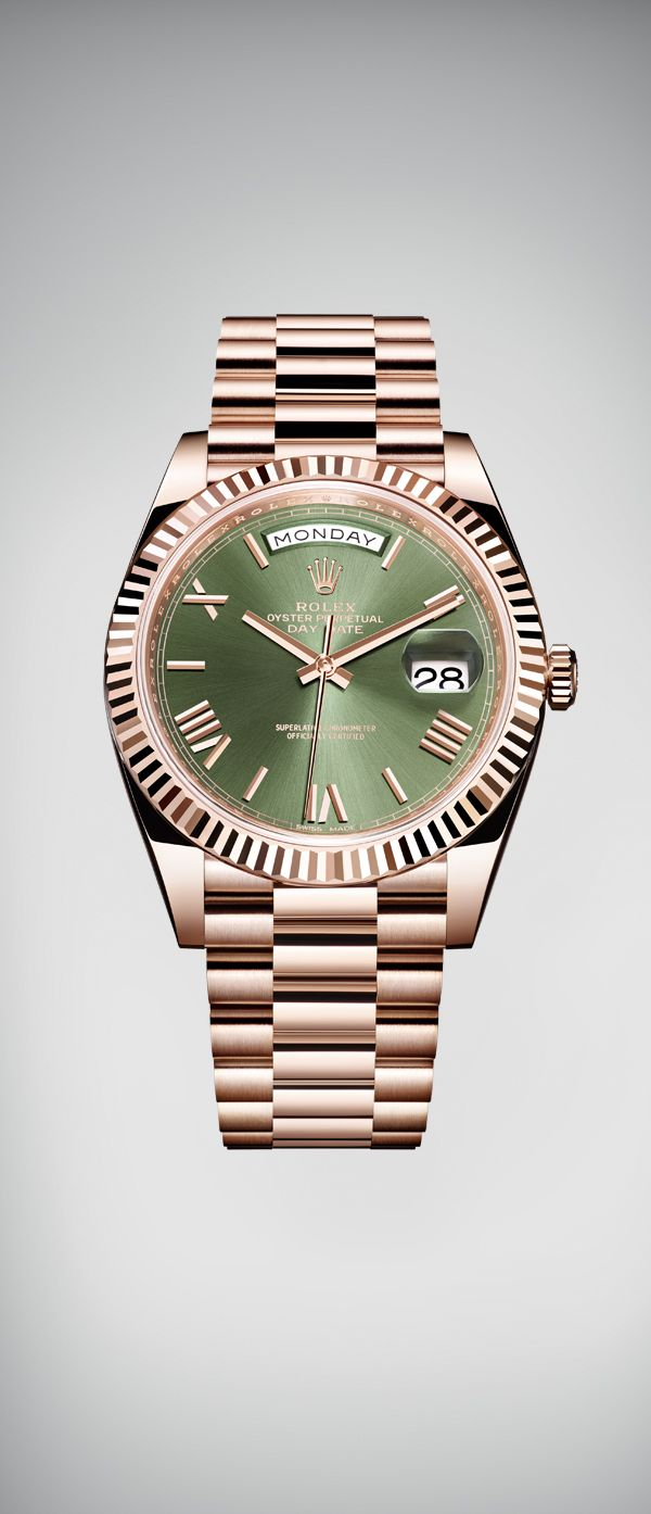 "Known as the ""presidents' watch"", the Rolex Day-Date 40 is celebrating its 60th anniversary in 2016. To mark this special occasion, it has been given a bright new dial in green, Rolex's hallmark colour."