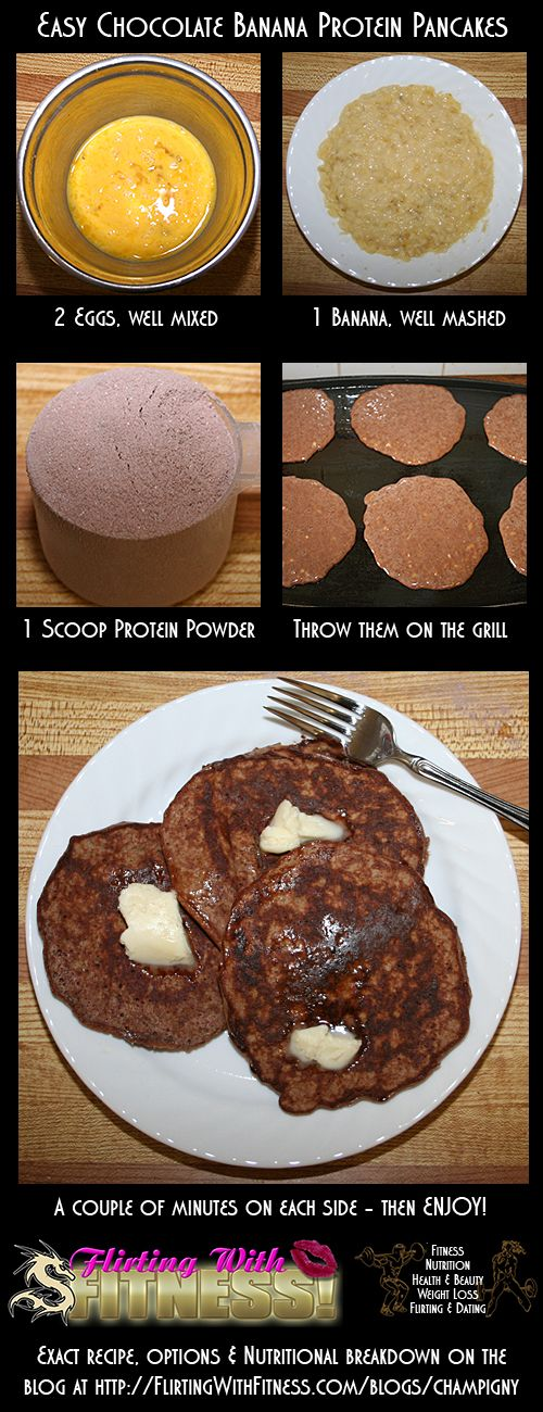 Fitness Nutrition: Easy, Healthy, High-Protein Chocolate Banana Pancakes Recipe #Protein #Pancakes #Recipe #HealthyNutrition