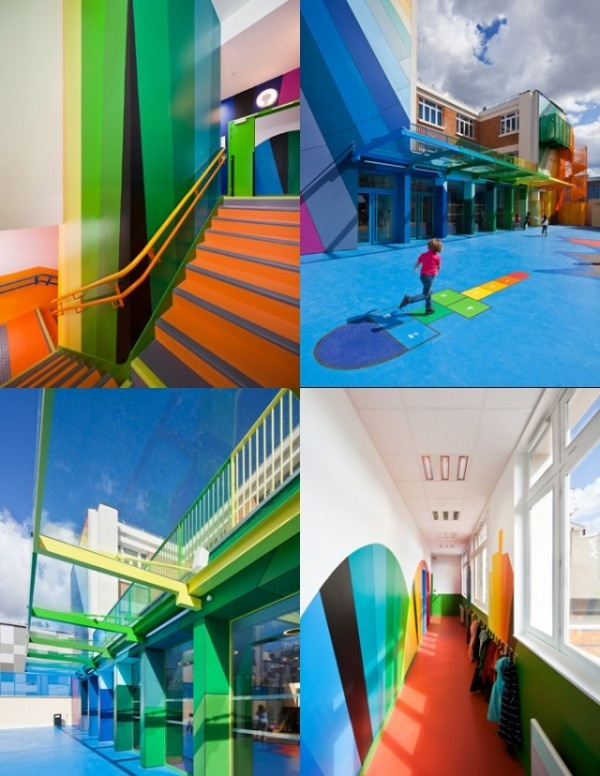 Inside, school rooms and corridors are highlighted with a variety of colors intended to rouse spirits amongst children and staff.  Geometric configurations run wild, covering the walls and furniture that's meant to stimulate the student's creative thinking.