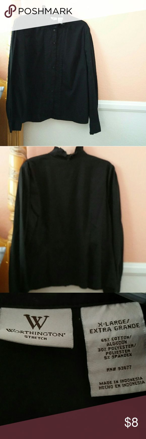 Worthington Black Collared Button Dress Shirt Worn Once  Has non traditional, pleated collar  Great condition: no tears, no stains, no holes, no missing buttons  Measurements: 22 inch chest, 26 inch length Worthington Tops Button Down Shirts