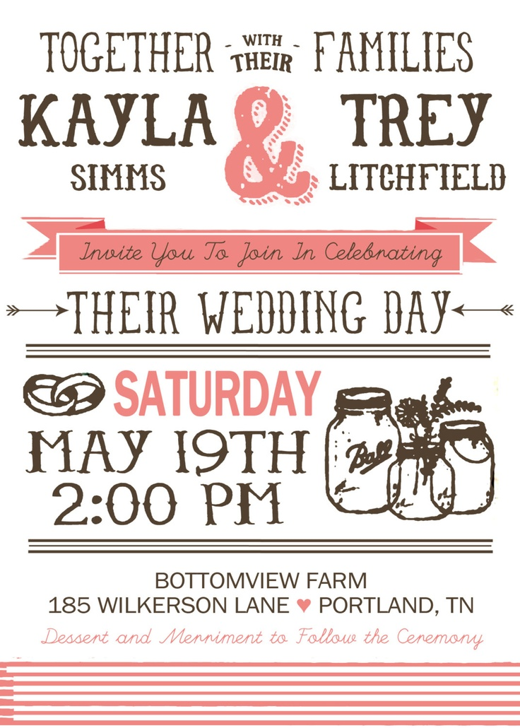 Country Chic Wedding Invititation - Printable. $30.00, via Etsy.