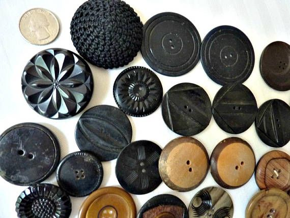 Large Buttons Black Brown Wood White Beige Bulk Lot of 69