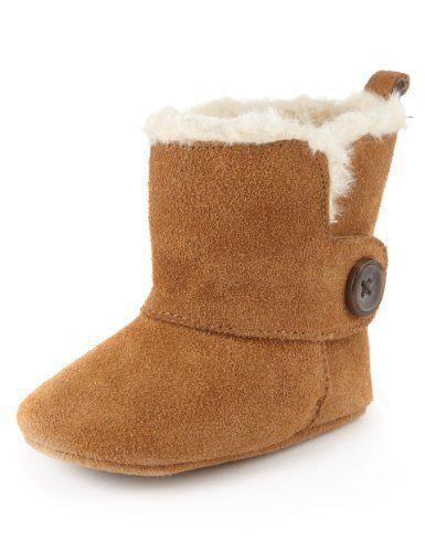 Suede Faux Fur Button Pram Boots-Marks & Spencer