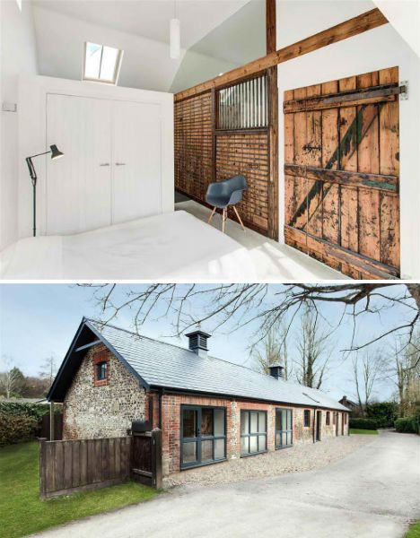 Wood Contrasts with White in Converted Stable House   Read more: http://dornob.com/rustic-wood-contrasts-with-modern-white-in-converted-stable-house/#ixzz2SMFOCYyS