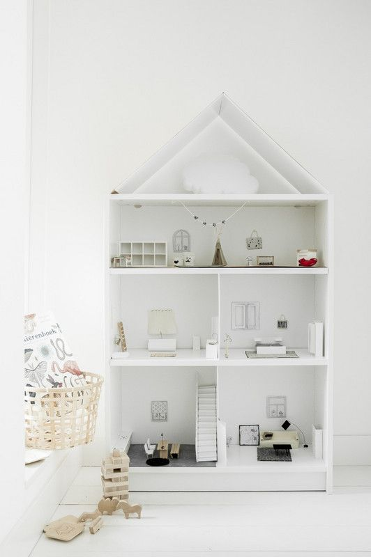 how to turn a Billy Ikea bookcase into a sweet dollhouse