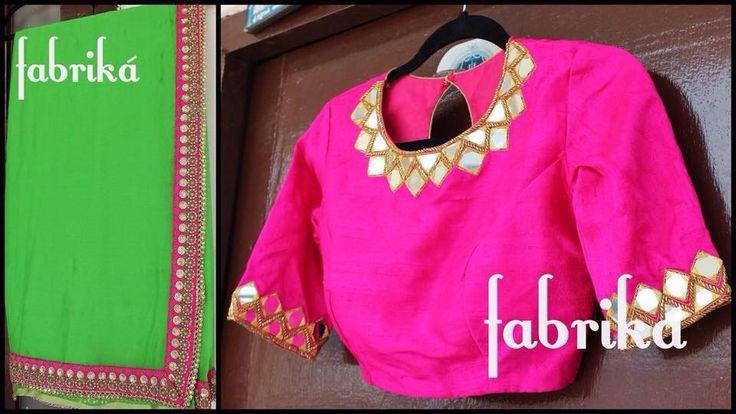 Neon green saree with mirror work blouse