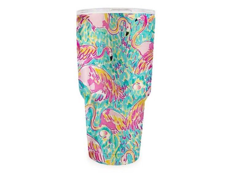 """30 oz Lilly Pulitzer Inspired Printed Stainless Steel Tumbler in """"Flamingo"""" pattern Hydro-dipped double wall stainless steel tumbler. Other styles listed separately Par to Yeti, Ozark, RTIC Closable slide lid - Slide lid can be removed for easy lid cleaning"""