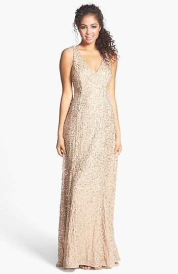 Adrianna Papell Embellished V-Neck Gown available at #Nordstrom