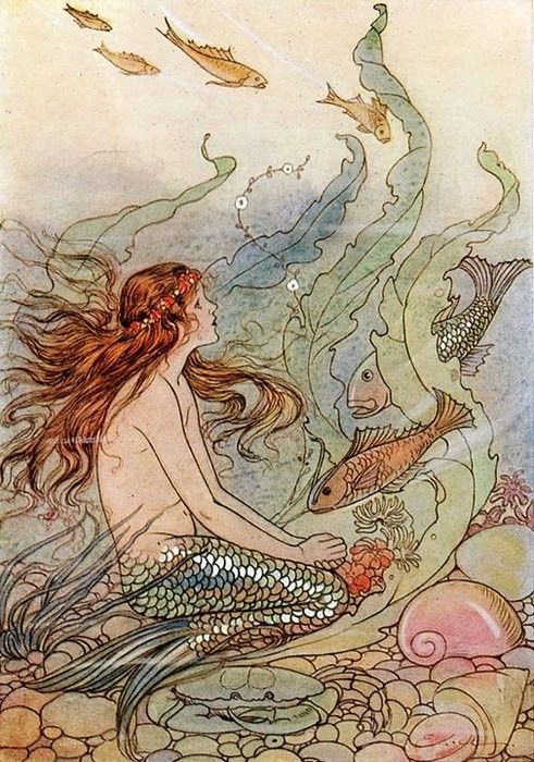More Illustrations in GREEN: http://www.pinterest.com/oddsouldesigns/illustrate-the-rainbow-greens/ #mermaid #fanstasy