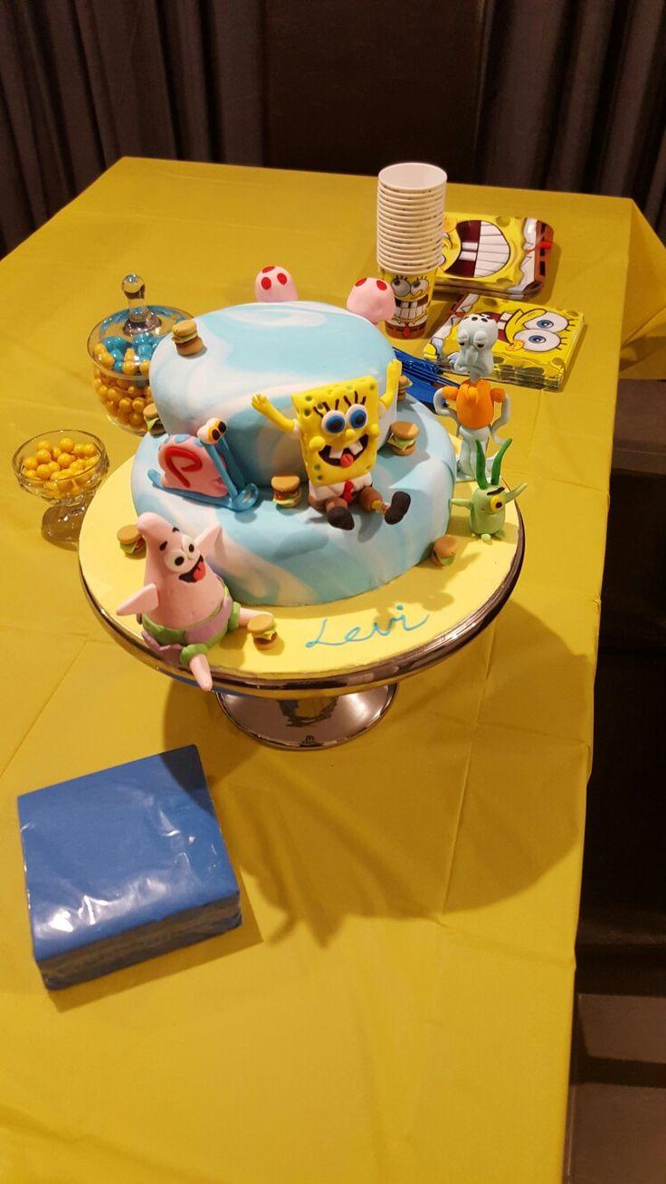 Pink Milk & Peonies - spongebob square pants cake with spongebob, Patrick, squidward, gary and krabby patty fondant figures @pink_milk_and_peonies
