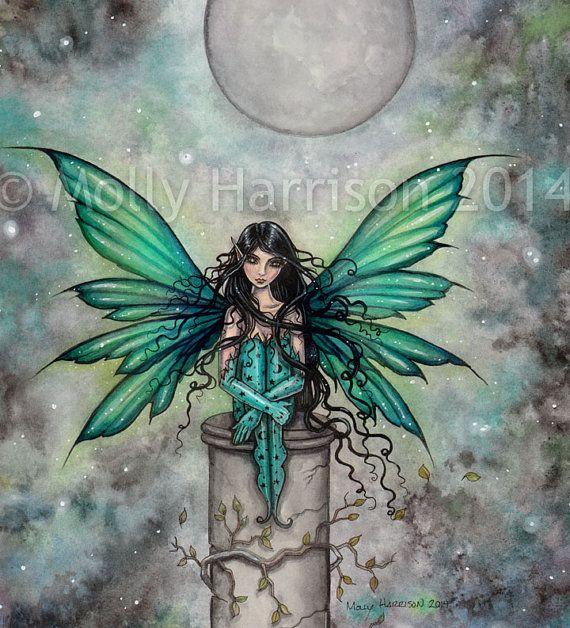 Little Green Fairy - Fantasy Art by Molly Harrison 8 x 10 Fine Art Archival Print