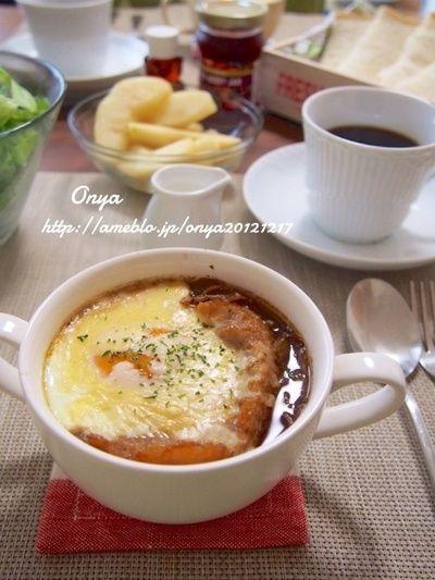 簡単朝カフェ】卵がとろ~り♪エッグオニオングラタンスープ♪ by お ...