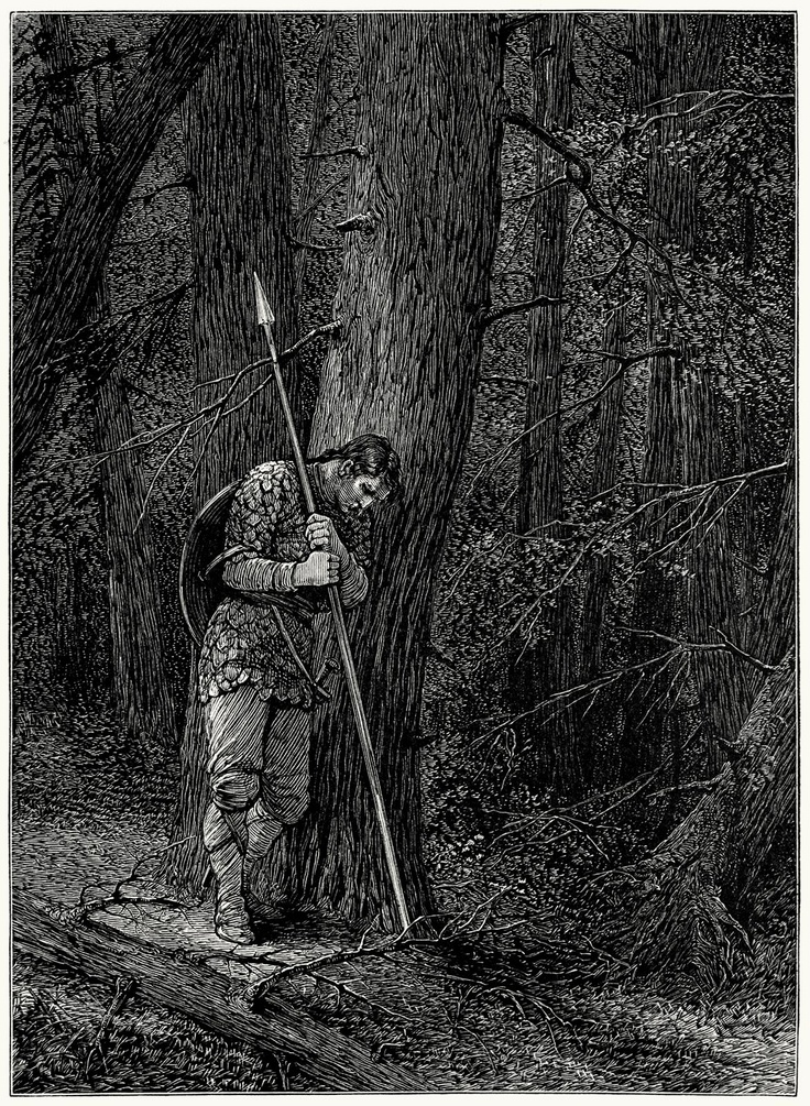 ✯ In the vast forest here ... Clad in my warlike gear ... Fell I upon my spear .. ~Mary A. Hallock Foote, from The skeleton in armor, by Henry Wadsworth Longfellow, Boston, 1877✯