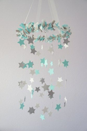 Aqua Gray Nursery Star Mobile- Baby Nursery Decor, Baby Shower Gift