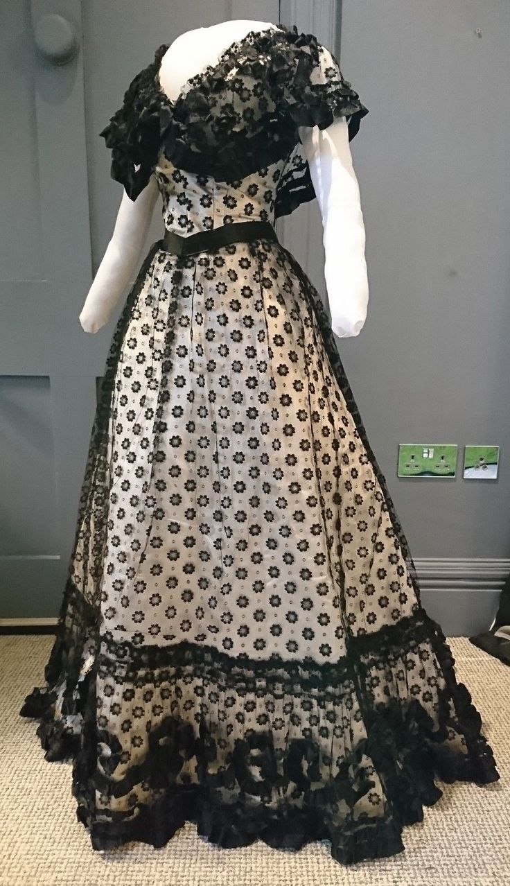 Museum Quality 1890s Silk And Net Evening Dress - Victorian Antique Fashion | eBay