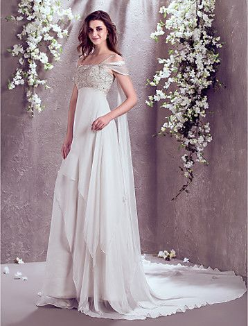 Vestido de Noiva Trapézio Alças Finas/Ombro a Ombro Cauda Corte (Chifon) - BRL R$ 683,97