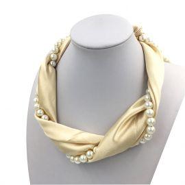 Silk Choker Necklace Scarf Women Jewelry Pearl Chain