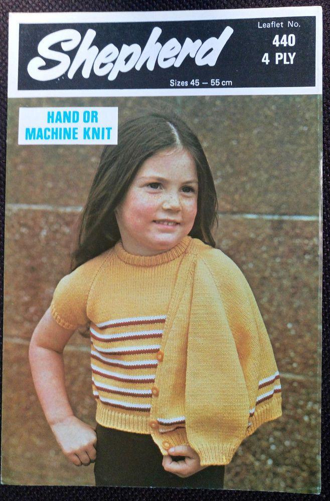 Child's Top & Cardigan Shepherd 440 vintage knitting pattern MACHINE or HAND #Shepherd