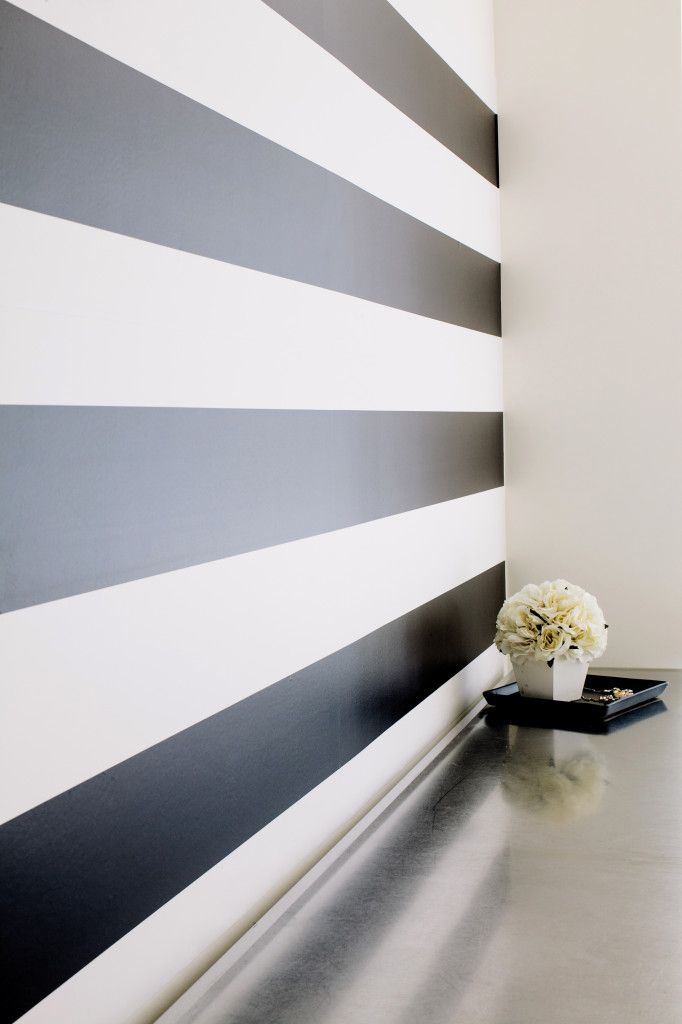 Would you believe this is removable wallpaper?! @Chasing Paper is a stylish, removable wallpaper company for the modern home. (We love it for the nursery!) #PNapproved #nursery: Chasing Paper, Wall Paper, Black And White Stripe, Master Bedroom, White Wall, Accent Wall