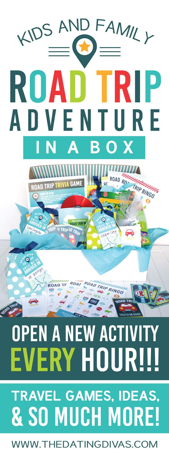 I am SO doing this for our next road trip! Check out this adorable ROAD TRIP IN A BOX! It's filled with free activities, printables, and games for every hour while you are driving! This is going to be a LIFESAVER!!! www.TheDatingDivas.com