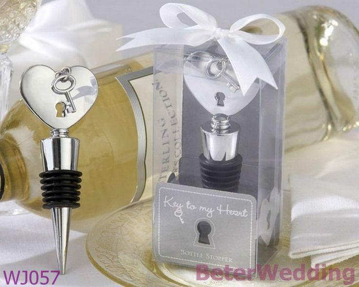 WJ057_Key à mon souvenir de Decoration_Wedding Gift_Wedding de mariage de taquet de bouteille de Coeur-Chrome