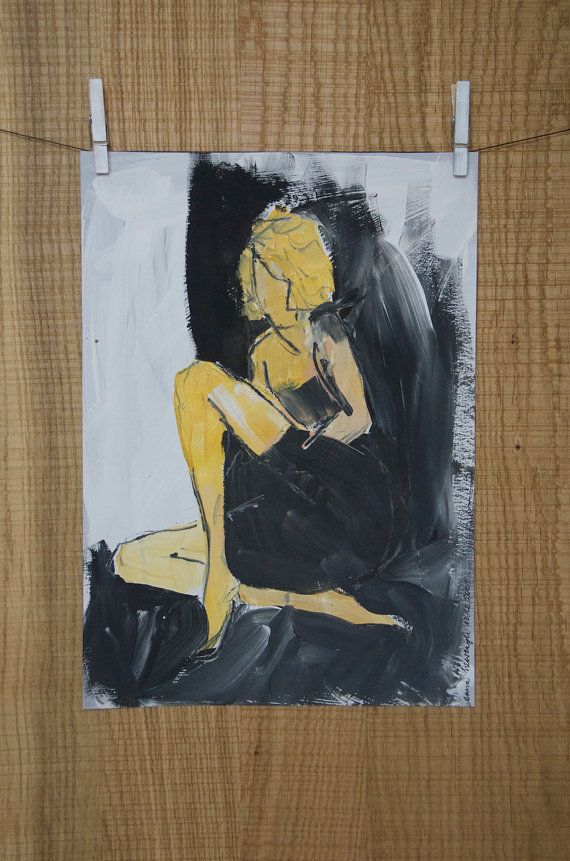 Blonde coquette. Young woman. Quick sketch in by ankaGilding
