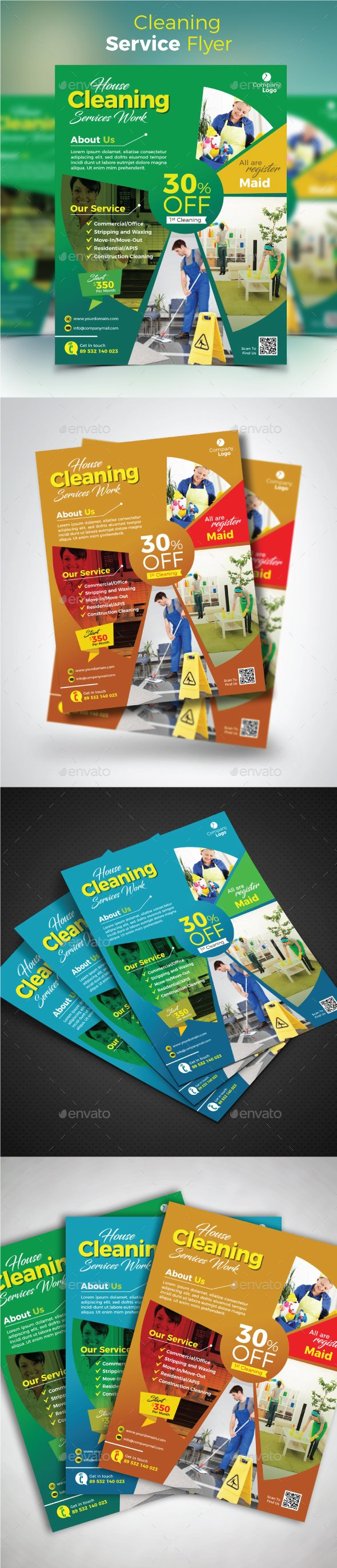 Cleaning Service Flyer Template Vector EPS, AI Illustrator