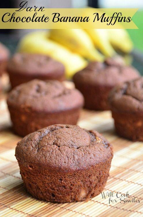 Dark Chocolate Banana Muffins - Will Cook For Smiles