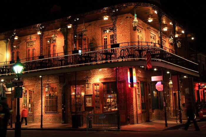 Nightlife in the French Quarter at night
